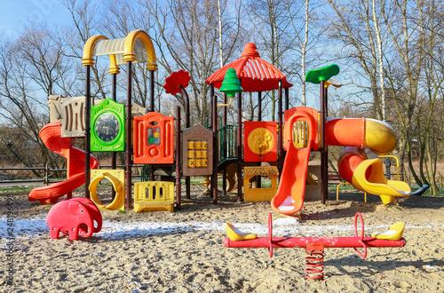 Fotografía  Children's playground in city park.