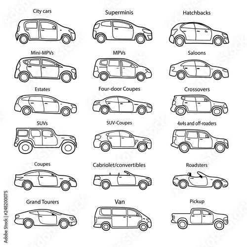Fotografía  Big set of car body types with text