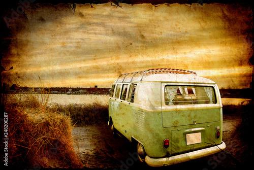 Foto auf AluDibond Weinlese-Plakat Road Trip to Freedom