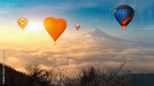 Poster Balloon Colorful hot-air balloons flying over the mountain, Colorful hot air balloons flying over mount fuji at lake Kawaguchi,Yamanashi, Japan.