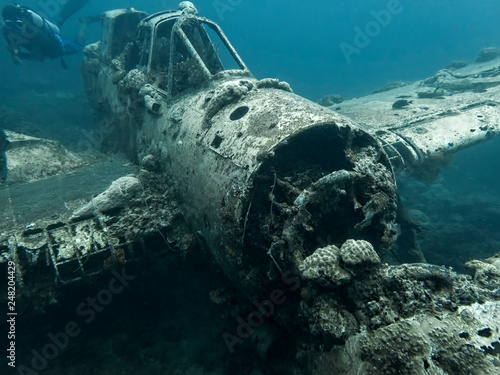 Jake Seaplane Wreck Sits on Ocean Floor with Diver Swimming by Canvas Print