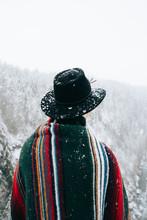 Man Wearing Blanket In The Snow