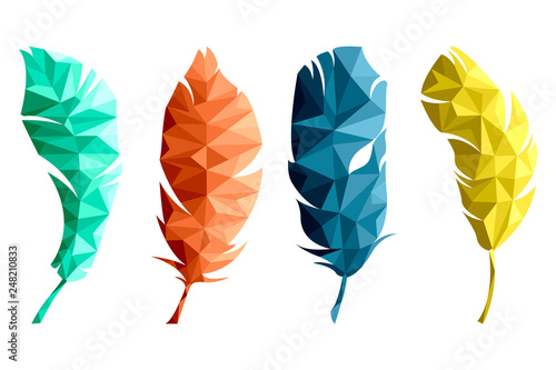 Photo  Set of isolated multicolored feathers in low poly graphics on white background