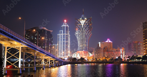 Foto auf Leinwand Aubergine lila Macau city skyline at night
