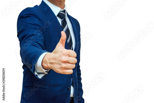 Fotografia  Businessman shows thumb up sign gesture