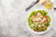 Caesar Salad With Chicken And Herbs On The Table, Caesar Sauce, Parmesan Cheese