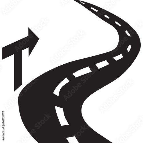 Canvas Print Icon-Curvy Road with an Arrow Directional Signpost