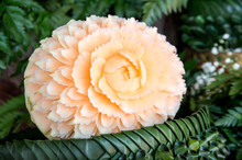 Beautiful Flower Carving From Melon By Expert Thai Students