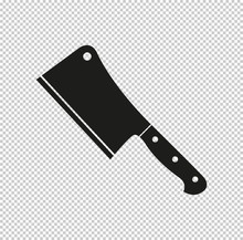 Meat Cleaver Knife  - Black Vector Icon
