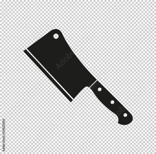 Fotografiet Meat cleaver knife  - black vector icon