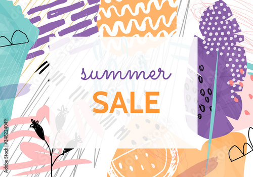Photo  Super sale colorful collage backgrounds set