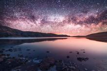 Night Landscape, Beautiful Milky Way Above The Lake.