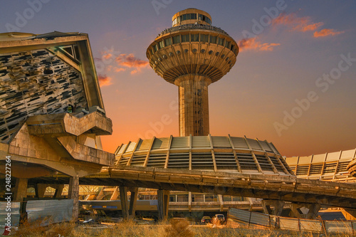 Old airport and long exposure clouds. Armenia Canvas Print
