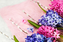 Bouquet Of Beautiful Flowers - Blue And Pink Hyacinths And Willow, Top View, Spring Or Easter Concept