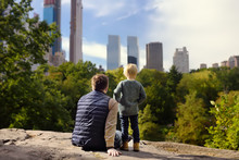 Man And His Charming Little Son Admire The Views In Central Park, New York