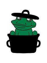 Essen Lecker Hunger Froschschenkel Topf Kochen Koch Chef Meister Restaurant Schütze Braten Frosch Sizend Süß Niedlich Lustig Comic Cartoon Clipart Froschkönig Kröte