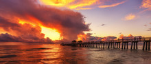 Scenic Old Naples Pier With A Wonderful Burning Sky