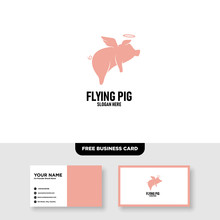 Flying Pig Logo Vector Templat...