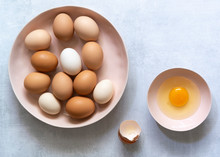 Brown And White Hen Eggs With ...