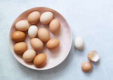 Brown And White Eggs In A Bowl...