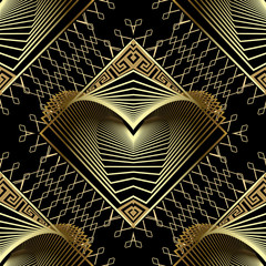 Geometric gold modern 3d vector seamless pattern. Greek ornamental grid lattice background. Repeat lace style backdrop. Surface textured fractal shapes with greek key meanders ornament. Luxury design.