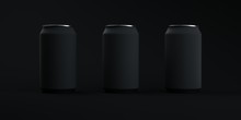 Three Black Matte Soda Cans On Elegant Dark Background