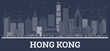 Outline Hong Kong China City Skyline with White Buildings.