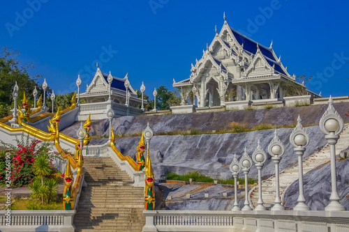Fotografie, Obraz  View onto the staircase decorated with ornate naga statues and the Thai Buddhist