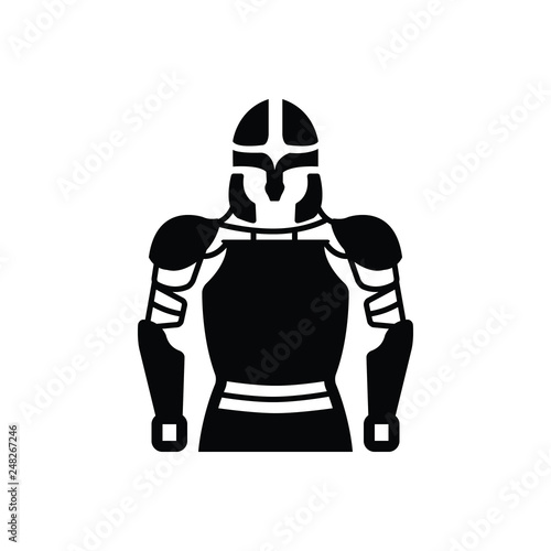 Photo  Black solid icon for armor