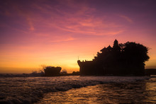Tanah Lot Sunset With Ocean Silhouette