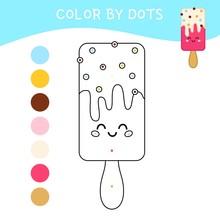Coloring Book For Children. Cartoon Cute Ice-cream.