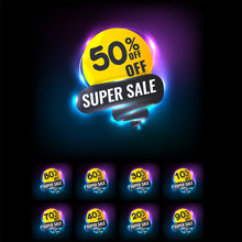 Sale Tags Set Vector Badges Template, Neon.
