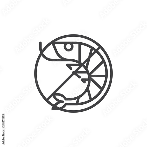 Fotobehang Fiets No Shrimp, prohibition sign vector icon. filled flat sign for mobile concept and web design. No prawn, allergen food simple glyph icon. Symbol, logo illustration. Pixel perfect vector graphics
