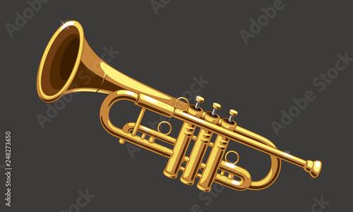 Fotografija Beautiful golden trumpet vector illustration