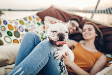 Cute Dog Smiling While On A Trip With His Owners, Joyful Young Family, Woman Petting Dog While Lying In Comfortable Hammock On A Beach