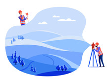 Concept Land Surveyors, Cadastral Engineers And Surveyors Conduct Geodetic Measurements On The Land, On The Ground, Using Theodolite And Geodetic Equipment. Vector Flat Illustration.