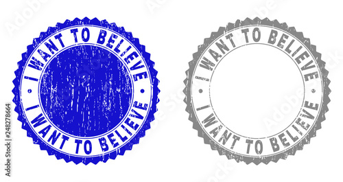Photo  Grunge I WANT TO BELIEVE stamp seals isolated on a white background
