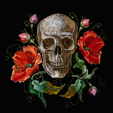 Embroidery Human Skull And Red Poppies Flowers. Fashion Gothic Embroidery. Medieval Template For Clothes, Textiles, T-shirt Design