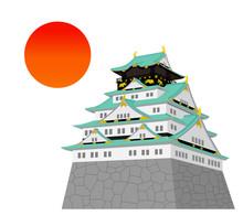 Japanese Castle And Sun