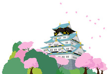 Japanese Castle And Cherry Blo...