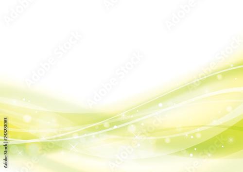 Cuadros en Lienzo  アブストラクト 波 なめらか 曲線 背景 黄緑