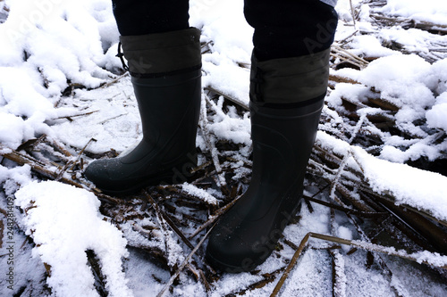 Fotografering  Pair of blue rubber EVA boots isolated on white