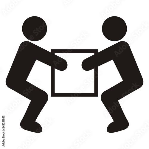 Fotografia warning sign, handling heavy loads, vector icon