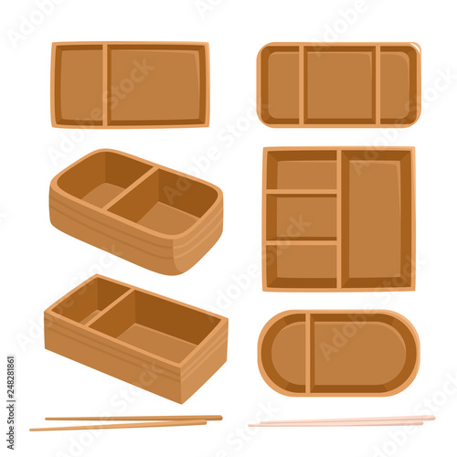 Bright vector illustration of traditional bento box isolated on white Canvas Print