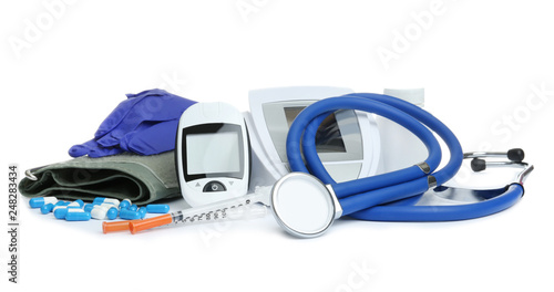Different medical objects on white background. Health care Fototapeta