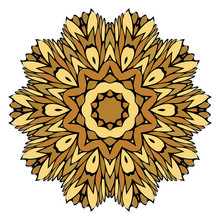 Oriental Mandala. Vintage Decorative Elements. Vector Illustration. Golden Color. For Coloring Book, Greeting Card, Invitation, Tattoo. Anti-Stress Therapy Pattern.
