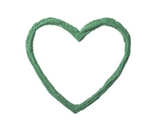 Heart Shaped Frame Made Of Spirulina Algae Powder Isolated On White, Top View. Space For Text