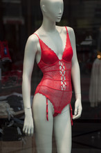 Closeup Of Red Underwear On Mannequin In Fashion Store Showroom For Women