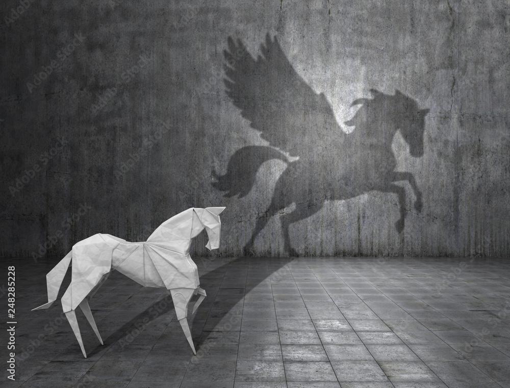 Fototapeta Concept of hidden potential. A paper figure of a horse that fills the shadow of a pegasus. 3D illustration