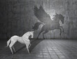 Concept of hidden potential. A paper figure of a horse that fills the shadow of a pegasus. 3D illustration
